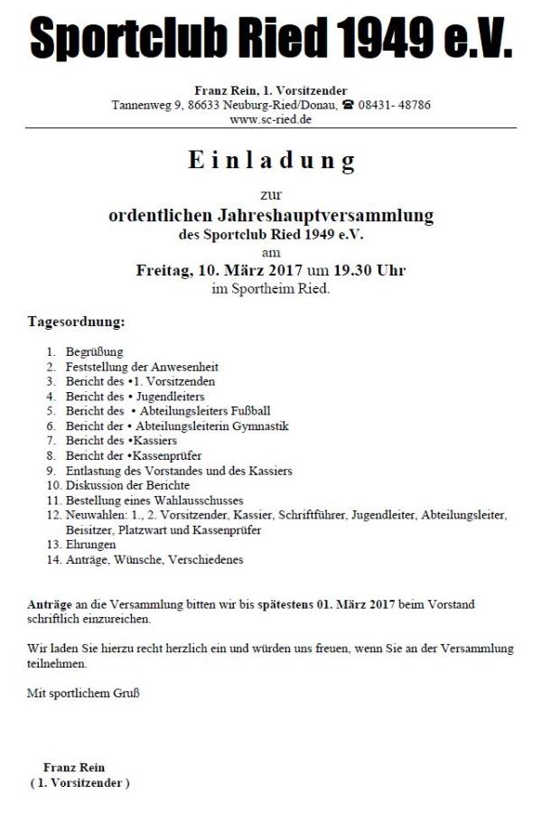 einladung zur jahreshauptversammlung 2017 | sc ried 1949 e. v., Einladung
